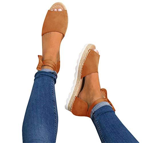 YOMISOY Womens Flat Sandals Peep Toe Espadrille Ankle Strap Flip-Flop Lace Up Platform Summer Shoes