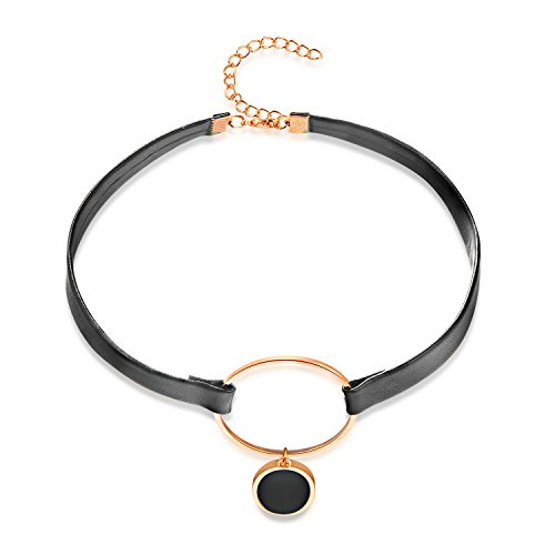 LOHOME Fashion Necklaces Black Leather Rose Gold Tone Round Cakes Charm Choker for Womens