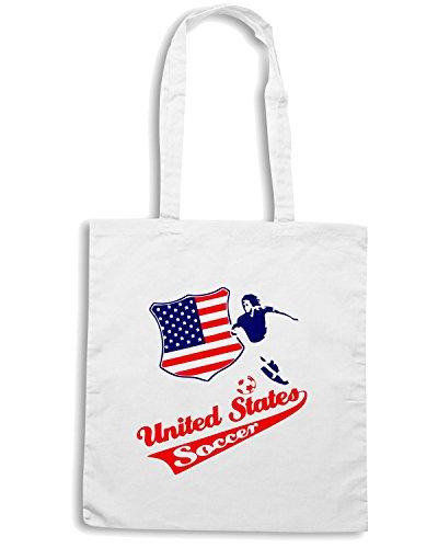 T-Shirtshock - Bolsa para la compra WC0117 USA STATI UNITI UNITED STATE. Blanco
