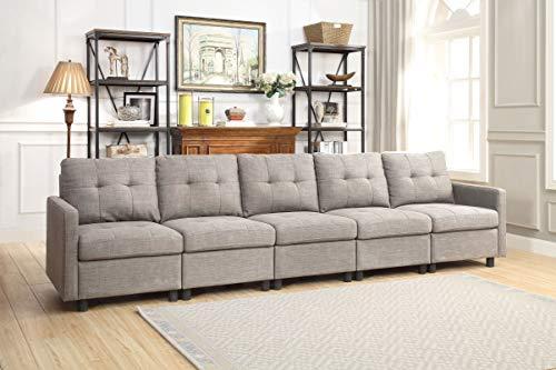 (DAZONE Modular Sectional Sofa Assemble 5-Piece Modular Sectional Sofas Bundle Set Cushions, Easy to Assemble Left & Right Arm Chair, Centre Armless Chair, Light)