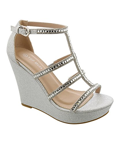 Top Moda JESSIE-36 Women's Wedge Sandal (5.5, Silver)