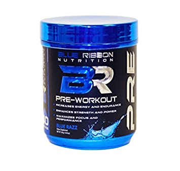 PRE, A Premium Pre-Workout Supplement to Increase Energy, Strength, Endurance, Focus, Mood Transparent Formula with 200mg Caffeine and Nootropics – 40 Servings – Blue Razz.