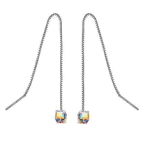 MISI US 925 Sterling Silver Swarovski Crystals Long Tassel Threader Dangle Drop Earrings for Women Chain Ear Line (SLV A, 3.0)