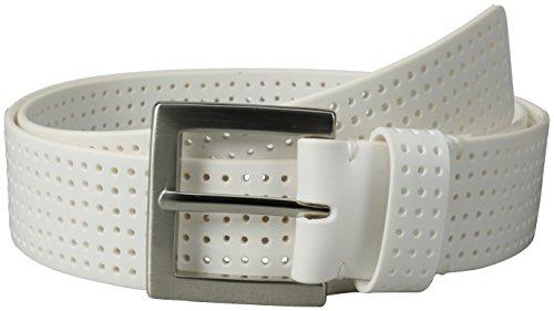 PGA TOUR Men's Perforated Fashion Color Silicone Belt, White, 34