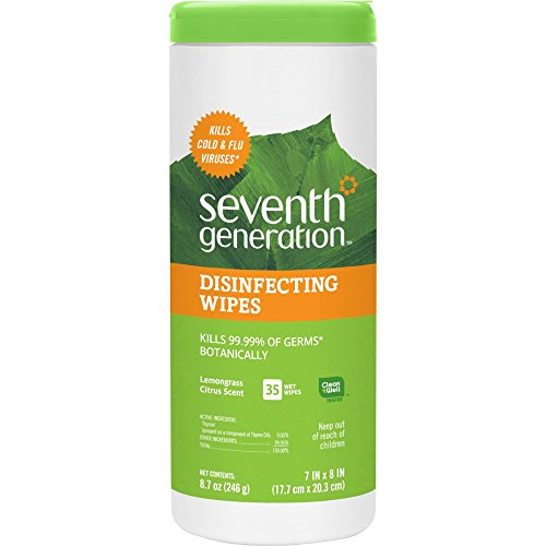 Seventh Generation 22812 Botanical Disinfecting Wipes, 8 x 7, White, 35 Count, 12/Carton