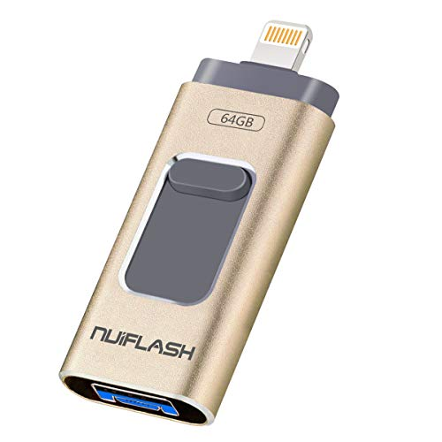 Flash Drive 64GB for IOS Pendrive OTG Memory Stick, External Storage Thumb Drive for iPhoneX/iPad/iPod/MacBook/Android/PC/iOS(64GB,Gold)