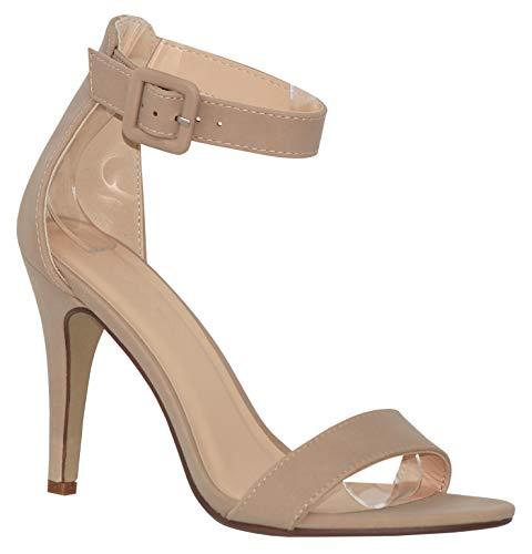 - MVE Shoes Women's Single Ankle Strap-Classy Kitten Heeled Sandal, Juicy Skin nbpu 8