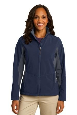 Women Port (Port Authority L318 Women's Polyester Core Colorblock Soft Shell Jacket, X-Large, Dress Blue Navy/Battleship Grey)