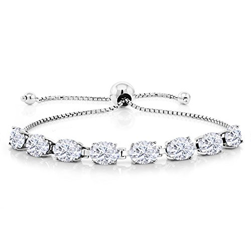 925 Sterling Silver Bracelet Forever One (GHI) Oval 12.00ct (DEW) Created Moissanite by Charles & Colvard from Gem Stone King