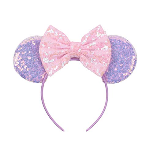 YanJie Mouse Ears Bow Headbands, Glitter Party 4th July Mermaid Decoration Cosplay Costume for Children & Adults (MKL- Pink Bow) -
