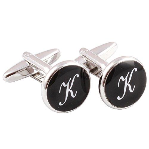 HJ Men's 2PCS Rhodium Plated Cufflinks Silver Initial Letter Shirt Wedding Business 1 Pair Set Black K