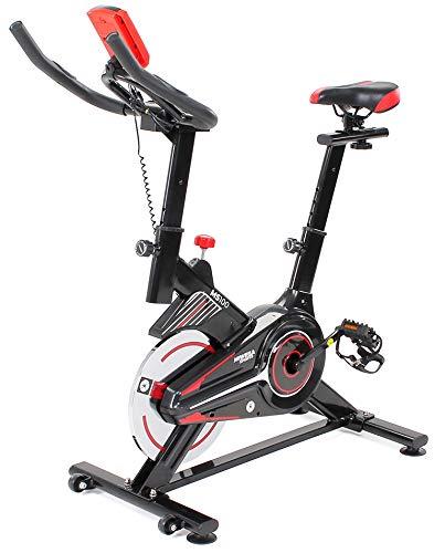 Miweba Sports Indoor Cycling MS100 Fitnessbike - 10 Kg Schwungmasse - Stufenfreie Widerstandsverstellung - Pulsmessung