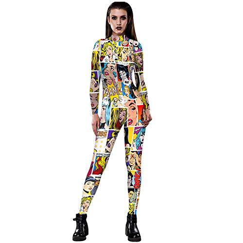 (Melii Women Halloween Superstar Cosplay Costume 3D Jumpsuit Bodysuit (Small,)