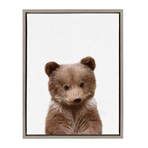 Kate and Laurel Sylvie Baby Bear Animal Print Portrait Framed Canvas Wall Art by Amy Peterson, 18x24 Gray