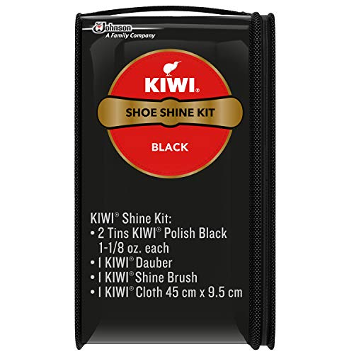KIWI Shoe Shine Kit, Black - Gives Shoes Long-Lasting Shine and Protection (2 Tins, 1 Brush, 1 Dauber and 1 Cloth) (Small Shoe Shine Kit)