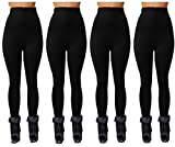 Maze Collections Warm and Fashionable Fall/Winter Ladies Zippered High Waist Fleece Lined Leggings (4 Pack) 41uuuDJEh8L