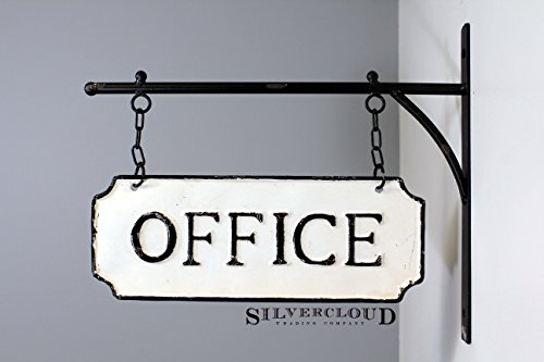 (Silvercloud Trading Co. Rustic Hanging Double-Sided Office Embossed Black on White Enamel Metal Sign with Bracket - Business Wall Decor - Room Label - Wayfinding)