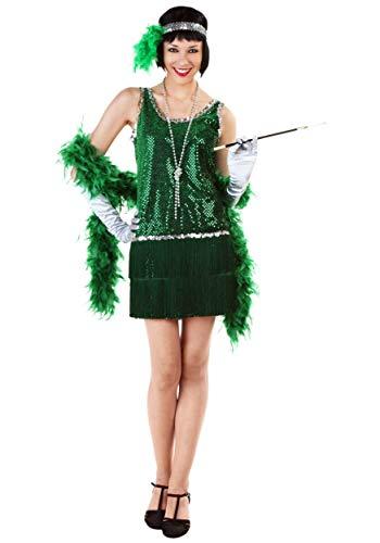 Sequin & Fringe Green Flapper Costume Plus -