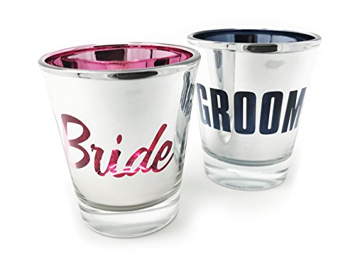Bride and Groom Metallic Shot Glass Set of 2- Engagement Gift or Wedding Gift for Newlyweds ()