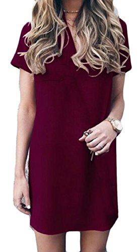 Short V Wine Neck Women Red Mini Sleeve Summer Solid Jaycargogo Dress Beach Dress XwYIXfP