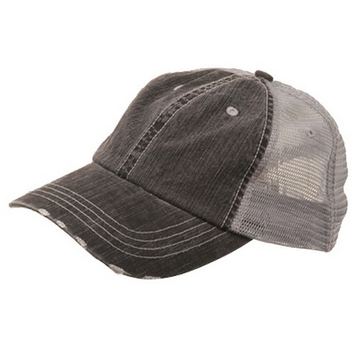 Distressed Logo Cap - MG Low Profile Special Cotton Mesh Cap-Black W40S62B