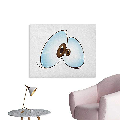 Anzhutwelve Eye Art Decor Decals Stickers Funny Innocent Eyes Expressing Sadness Emotional and Squint Eyed Character Art Poster Pale Blue Brown White W48 xL32]()