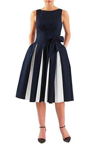 eShakti Women's Contrast inset pleat cotton poplin dress 1X-18W Regular Deep (Sleeveless Stretch Poplin Dress)