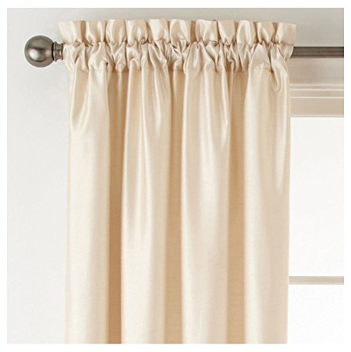 """Plaza Thermal Interlined Rod-Pocket Curtain Panel 50"""" x 84"""" - Ivory Beige"""