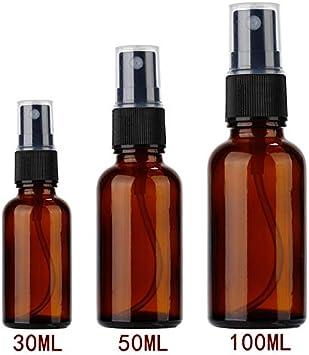 LGYLucky 8 30/50 PC / 100 ml Recargable Esstenial atomizador Aceite Botella de Spray de Maquillaje vacío Tres Dimensiones de Forma móvil jeringa de Vidrio Opcional para el líquido,marrón,30ml: Amazon.es: Hogar