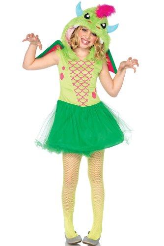 Leg Avenue Costumes 2Pc.Magic Dress with Furry Dragon Hood Velcro Wings, Green, Large (Magic Dragon Costume)