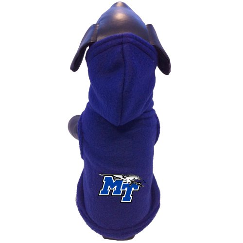NCAA Middle Tennessee State Blue Raiders Polar Fleece Hooded Dog Jacket, Tiny by All Star Dogs