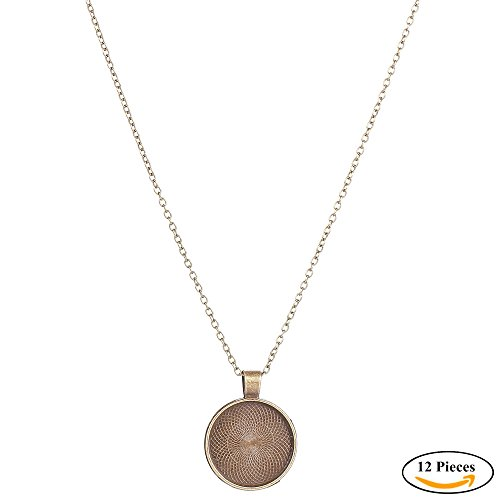 Cabochon Chain Necklace (IGOGO Round Pendant Trays And 24 Inch Length Vintage Style Necklaces Antique Bronze,1 Inch,12 PCS)