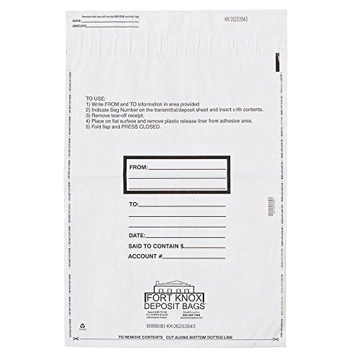 15W X 20H White Deposit Bags w/External Pocket 500/bx