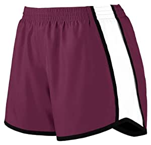 Augusta Sportswear Women's Moisture Elastic Short, Maroon/White/Black, Medium
