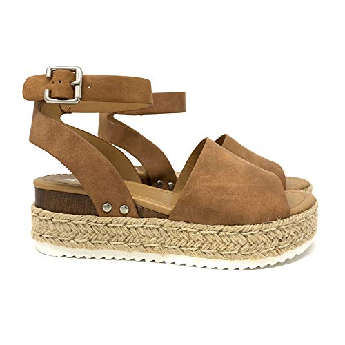 (SODA Topic Topshoe Avenue Women's Open Toe Ankle Strap Espadrille Sandal (10 M US, Tan))