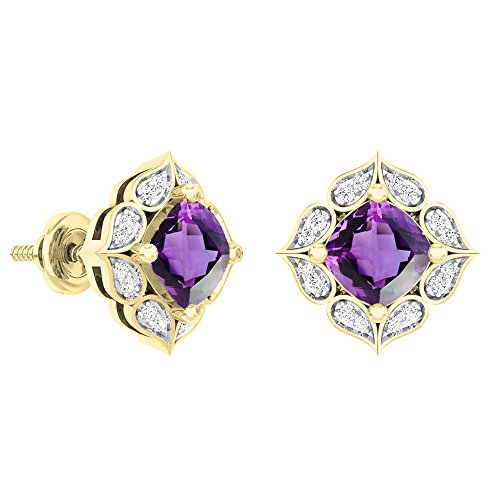 Dazzlingrock Collection 18K 6 MM Each Cushion Amethyst & Round White Diamond Ladies Stud Earrings, Yellow Gold