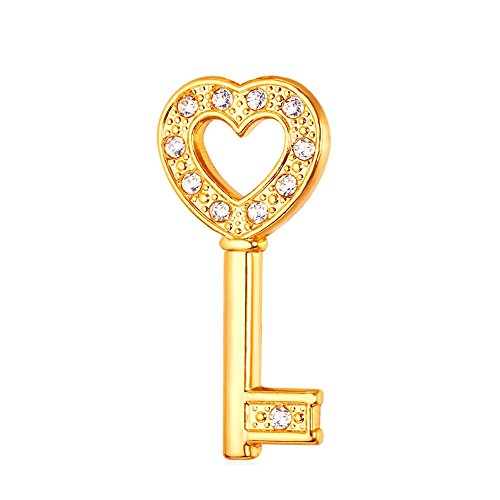 one Crystal 18K Gold Plated Heart Key Brooch for Business Suit, Tie, Hat,Jacket ()