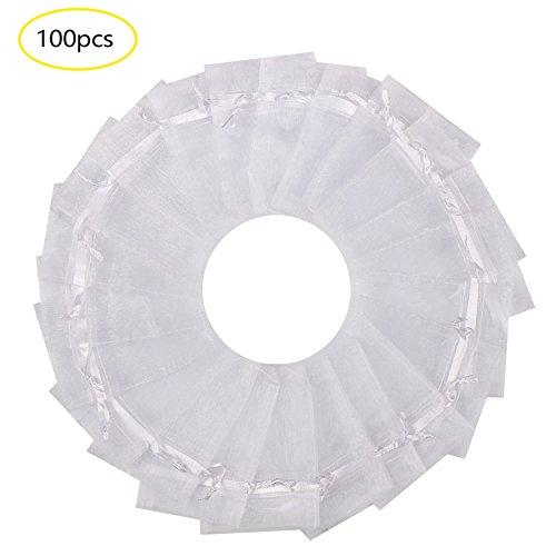 SumDirect 100PCS 3x4 Inches Organza Gift Bags with Drawstring-White 3x4 Organza Bag