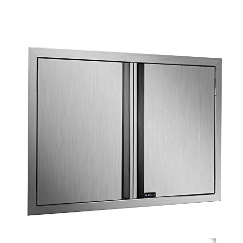 DaTOOL Stainless Steel BBQ Door,304 Brushed BBQ Access Door Cutout 28WX19H, Double BBQ Island Door for Outdoor Kitchen, Commercial BBQ Island, Outside Cabinet, Barbeque Grill (28WX19H)