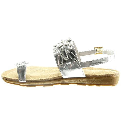 Offen Sandalen String Damen Keilabsatz Weiß Schmuck Schuhe 2 Angkorly Cm Tanga wqtOxRawn