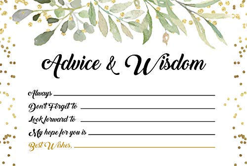 Advice and Wishes Cards - Any Occasion - Graduation, Baby or Bridal Shower, Wedding, Retirement, Life (pack of 25 cards) (Floral Green)