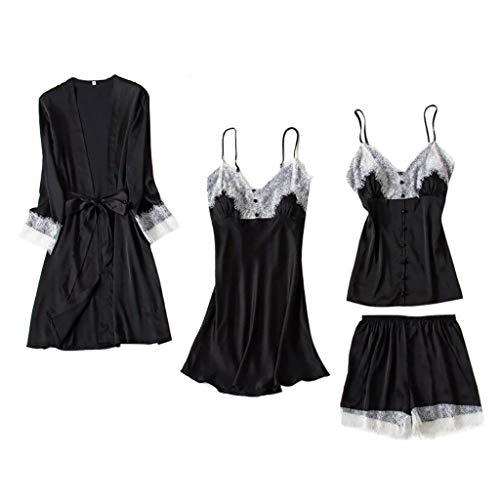 Close-dole New Women's Sexy Sling Pajamas Lace Side Dolls Robe Underwear Straps Shirt Shorts Nightdress Black ()