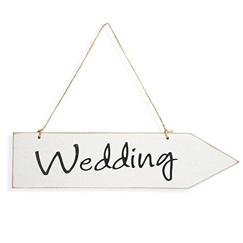 con scritta:Wedding Club Green colore: bianco 300 x 57 x 6 mm Cartello a freccia in legno