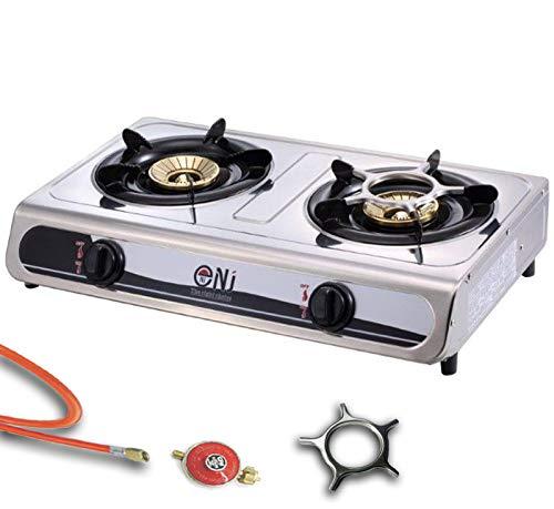 Acero inoxidable gas eléctrica 2 focos camping Cocina 7,6 kW ...