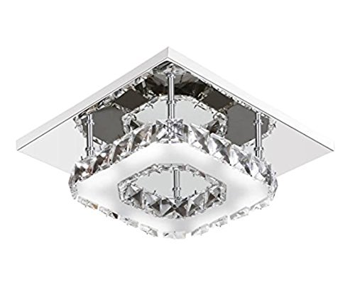 DAXGD 12W Square LED Crystal Chandelier Ceiling Lamp Stainless Steel Modern Minimalist Chandelier for Living Room, Bedroom, Bathroom, Dining room, Hallway, Hotel