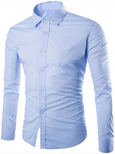 CFD Men's Buttoned Solid-Colored Slim Fit Long Sleeve Dress Shirts Light Blue M
