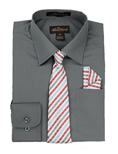 Boys Pattern Ties - Alberto Danelli's Boys Long Sleeve Dress Shirt with Matching Tie and Handkerchief, 7, Ash