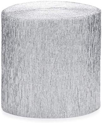 80ft 5 x Shimmering Silver Crepe Streamer Decoration