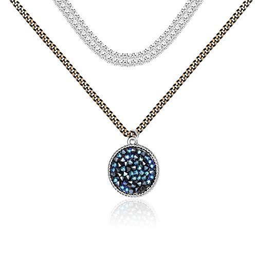 Sllaiss Vintage Layered Choker Necklace for Women Coin-Shaped Crystal Pendant White & Gold Plated Chain Choker, Blue Crystals from Swarovski Fashion Jewelry -