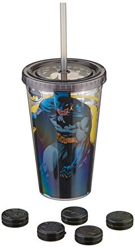 Silver Buffalo BK01087Q DC Comics Batman Cold Cup with Bat Logo Shaped Ice Cubes, Multicolor